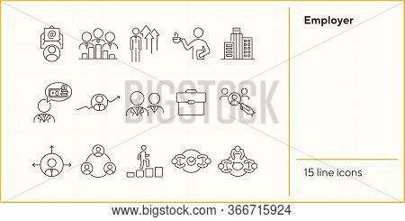 Employer Line Icon Set. Team, Candidate, Office Worker. Business Concept. Can Be Used For Topics Lik