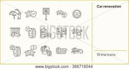 Car Renovation Icons. Set Of Line Icons. Evacuation, Car Fix, Tyres. Car Repair Concept. Vector Illu