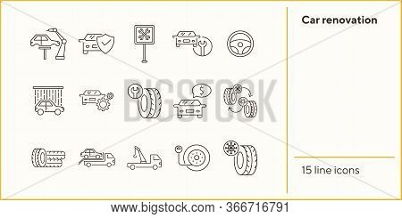 Car Renovation Line Icons. Set Of Line Icons. Robot, Car Shower, Changing Tyres. Car Repair Concept.