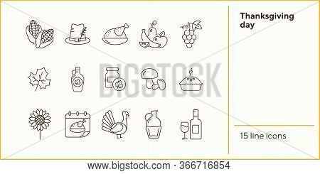 Thanksgiving Day Line Icon Set With Turkey, Pie And Maple Leaf. Corn, Mushroom, Food, Dishes, Wine.
