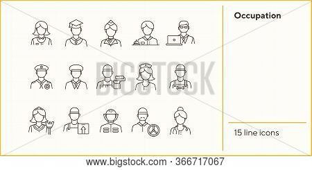 Occupation Icons. Set Of Line Icons On White Background. Painter, Officer, Nurse. Profession Concept