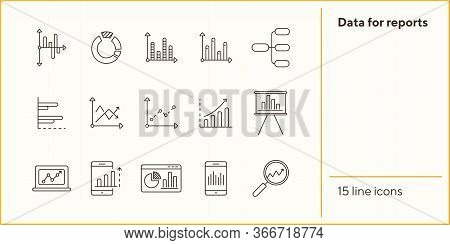 Data For Reports Line Icon Set. Chart, Diagram, Analytics Isolated Outline Sign Pack. Graph, Analysi