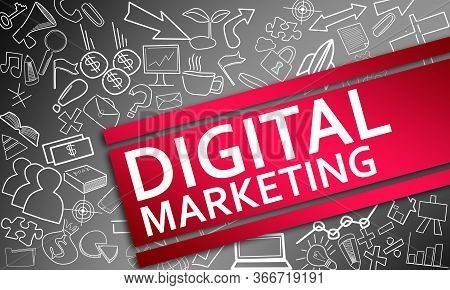Digital Marketing Concept With Creative Icon Drawings  , 3d Rendering