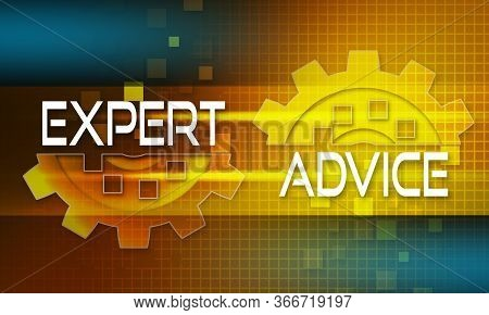 Expert Advice Concept Text On The Mechanism Of Gears. Technology Background, 3d Rendering.