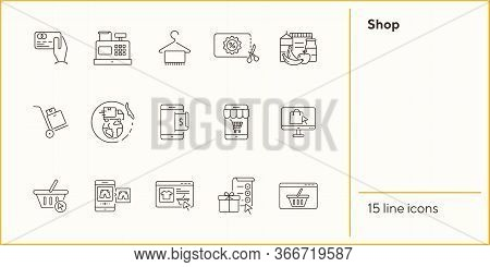 Shop Line Icon Set. Credit Card, Hanger, Webpage, Shopping Basket. Ecommerce Concept. Can Be Used Fo