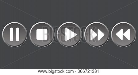 The Buttons Of The Player Are Different. Media Player Control. Vector Image. Stock Photo.