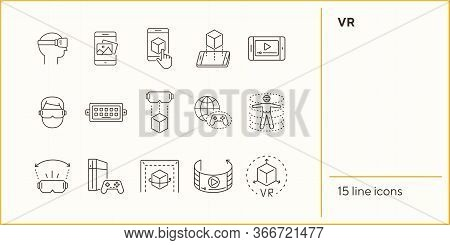 Vr Icon Set. Man In Vr Glasses, Dusb, Game Console. Virtual Reality Concept. Vector Illustration Can