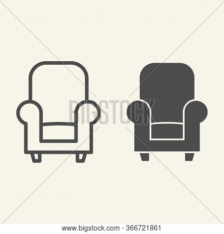 Soft Chair Line And Solid Icon. Comfortable Classic Armchair Symbol, Outline Style Pictogram On Beig