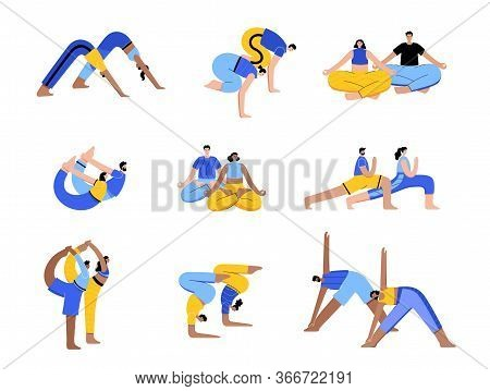 Set Of Happy Couples Performs Yoga Exercises At Home Or At Work. Adult Male And Female Cartoon Chara