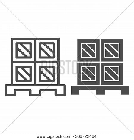 Cargo Boxes Pallet Line And Solid Icon, Warehouse And Logistics Symbol, Cardboard Boxes On Wooden Pa