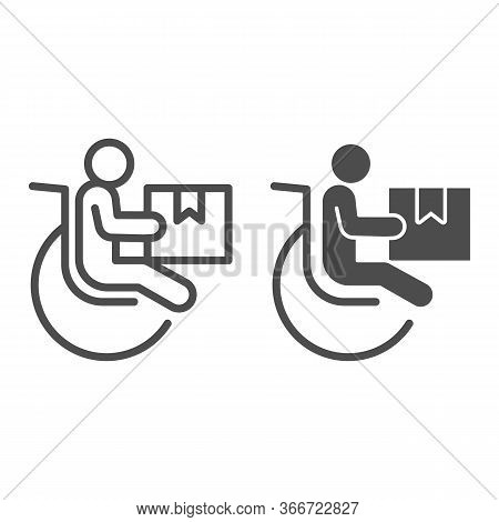 Disabled Person With Parcel Box Line And Solid Icon, Delivery Service Symbol, Human Figure In Wheelc