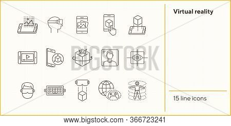 Virtual Reality Line Icon Set. Pictures In Phone, Man In Vr Glasses, 360 Degrees. Virtual Reality Co