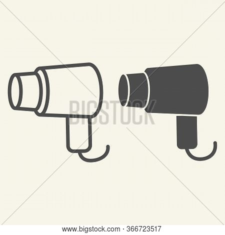 Hair Dryer Line And Solid Icon. Hairdryer Or Blow Dryer Symbol, Outline Style Pictogram On Beige Bac