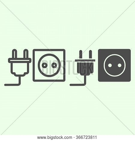 Socket With Plug Line And Solid Icon. Unplugged Cable From Jack Socket Outline Style Pictogram On Wh