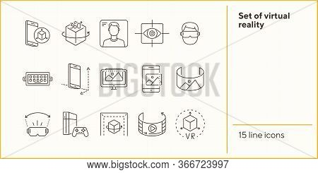 Set Of Virtual Reality Icons. Mobile And Cube, Eye Scanner, Game Consol. Virtual Reality Concept. Ve