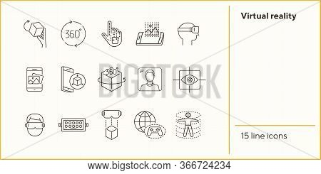 Virtual Reality Icon Set. Cube In Hand, Man In Vr Glasses, Eye Scanner. Virtual Reality Concept. Vec
