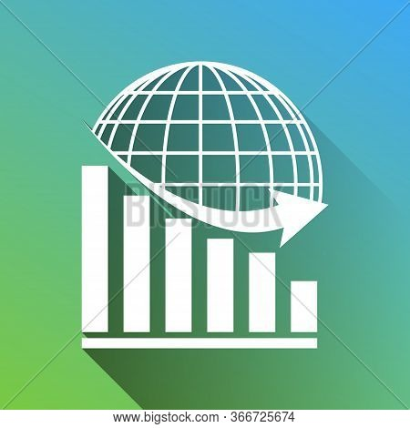 Declining Graph With Earth. White Icon With Gray Dropped Limitless Shadow On Green To Blue Backgroun