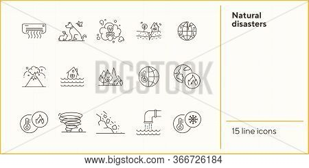 Natural Disasters Icons. Set Of Line Icons. Air Conditioner, Flood, High Temperature. Ecology Concep