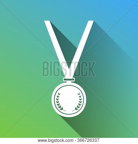 Medal Simple Sign. White Icon With Gray Dropped Limitless Shadow On Green To Blue Background. Illust