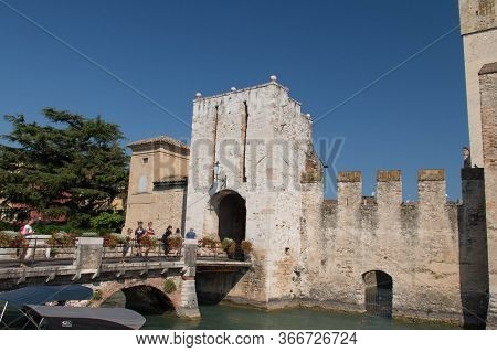 Italy, Lombardy - August 05 2018: The View Of The Scaliger Castle At The Entracne To Old Town On Aug