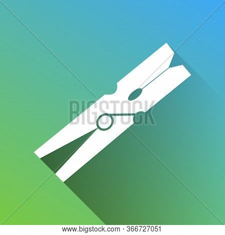 Clothes Peg Sign. White Icon With Gray Dropped Limitless Shadow On Green To Blue Background. Illustr