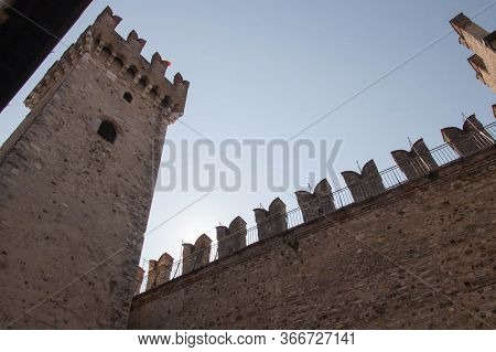 Italy, Lombardy - August 05 2018: The Detailed View Of The Scaliger Castle On August 05 2018 In Sirm