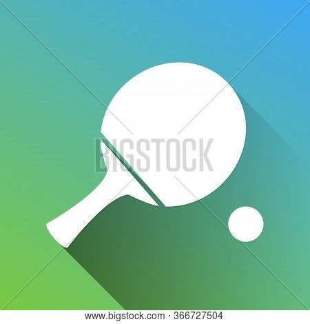 Ping Pong Paddle With Ball. White Icon With Gray Dropped Limitless Shadow On Green To Blue Backgroun