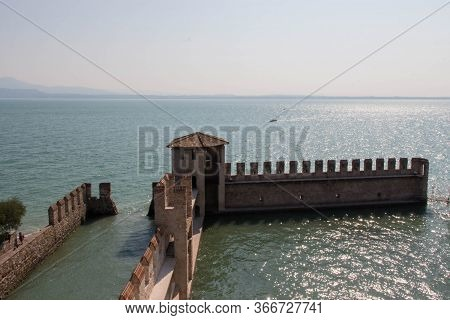 Italy, Lombardy - August 05 2018: Aerial View Of The Scaliger Castle Fortification Walls On August 0