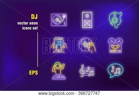 Dj And Music Neon Signs Set. Headphones, Disk And Notes. Vector Illustrations For Night Bright Adver