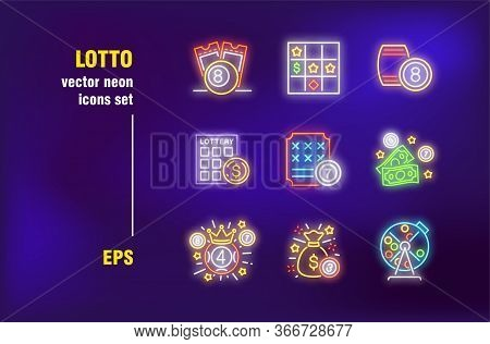 Casino And Lotto Set In Neon Style. Glowing Dollars, Crown And Lottery. Vector Illustrations For Nig
