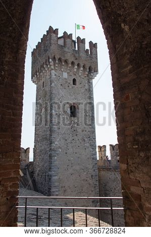 Italy, Lombardy - August 05 2018: The View From An Arch On Scaliger Castle Tower On August 05 2018 I