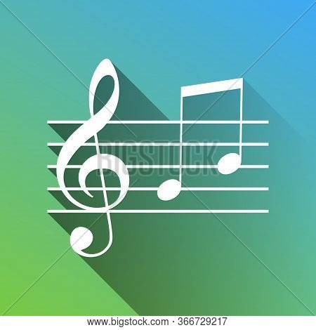 Music Violin Clef Sign. G-clef And Notes G, H. White Icon With Gray Dropped Limitless Shadow On Gree