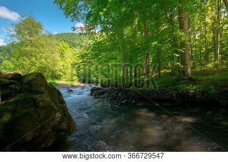 Stream In The Forest. Beautiful Nature Background. Peaceful Scenery With Water Flow Among Rocks And