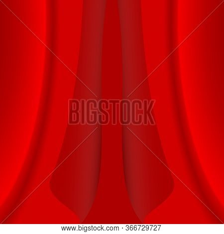 Closed Red Curtain. Realistic Red Velvet Curtain On Red Background.