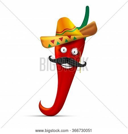 Red Hot Pepper, Anthropomorphic Character. White-toothed Smile, Sombrero, Mustache. Vector Illustrat