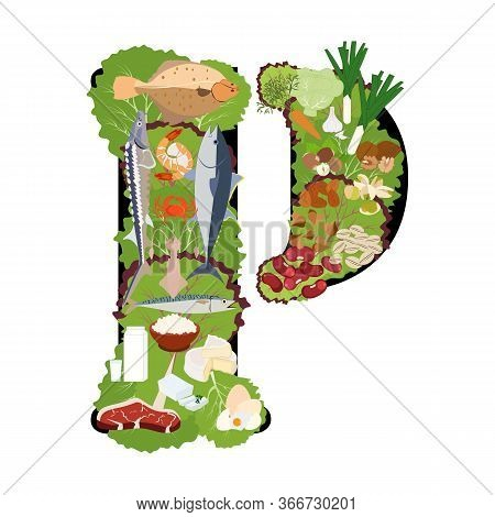 Phosphorus Healthy Nutrient Rich Food Vector Illustration