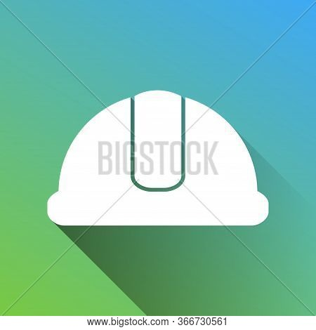 Hardhat Sign. White Icon With Gray Dropped Limitless Shadow On Green To Blue Background. Illustratio