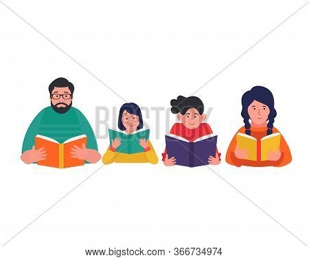 Group Of People Reading Book. Men And Women Hold A Book In Their Hands. Reading Book Club. Book Fest