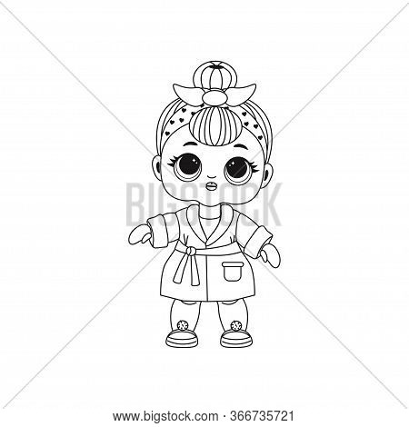 Cute Lol Doll. Coloring Book For Kids. Black And White Vector Illustration. Design For Baby Girl T-s