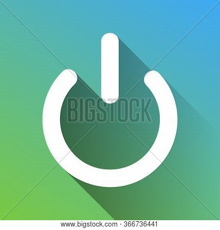 Shut Down Sign. White Icon With Gray Dropped Limitless Shadow On Green To Blue Background. Illustrat