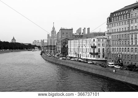 Moscow, Russia - 15.05.18 : Stalin Skyscraper On The Background Of The River. Moscow River View Of T