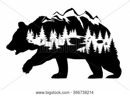 Vector Illustration Of A Bear Silhouette With Forest And Mountains. Fantasy Bear Nature, Wilderness