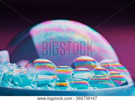 Beautiful Translucent Soap Bubble On Dark Background