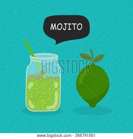Mojito Flat Icon Isolated On Blue Background. Simple Mojito Sign Symbol In Flat Style. Cocktail Vect