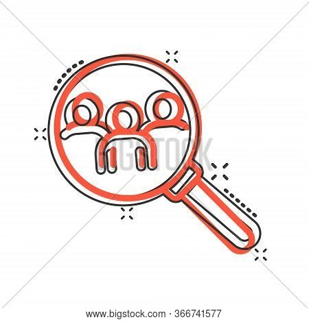 Search Job Vacancy Icon In Comic Style. Loupe Career Cartoon Vector Illustration On White Isolated B