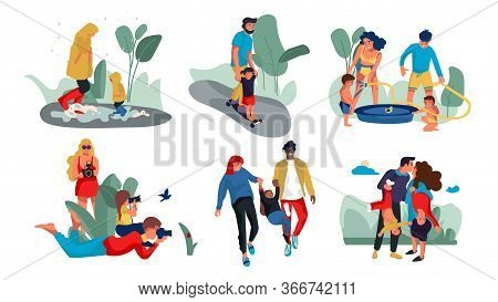 Family Outdoor Characters. Parents And Children Trendy Cartoon Persons Spending Time Together And Do