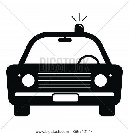 Police Cop Car Vintage With Siren Front View. Simple Black And White Illustration Depicting Police E