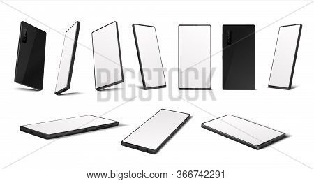 Realistic Smartphone. Mobile Phone Mockup With Blank Screen In Different Isometric Perspective. Vect