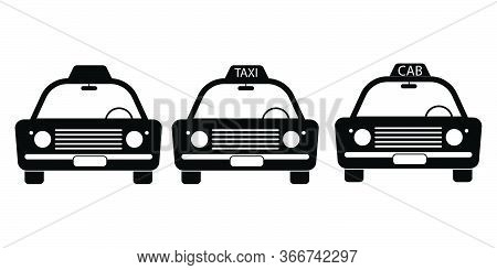 Taxi Cab Vintage Front View Set. Three Taxi Cab Car Automobile Black And White Illustration. Eps Vec