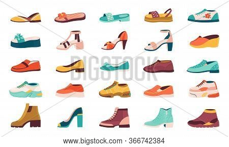 Cartoon Shoes. Flat Autumn Footwear, Running Shoes And Summer Sandals, Male And Female Sneakers And